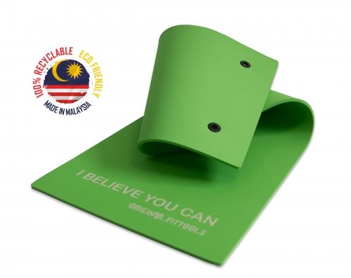 Мат для аэробики 10 мм зеленый с кольцами FT-MPM10G (VARUNA) - вид 1