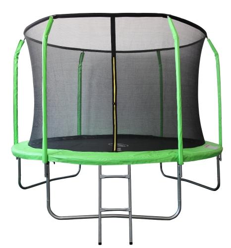 Батут 12FT 3.66м SportElite фиберглас с защитной сеткой внутрь и лестницей, салатовый GB30201-12FT GB30201-12FT - вид 1