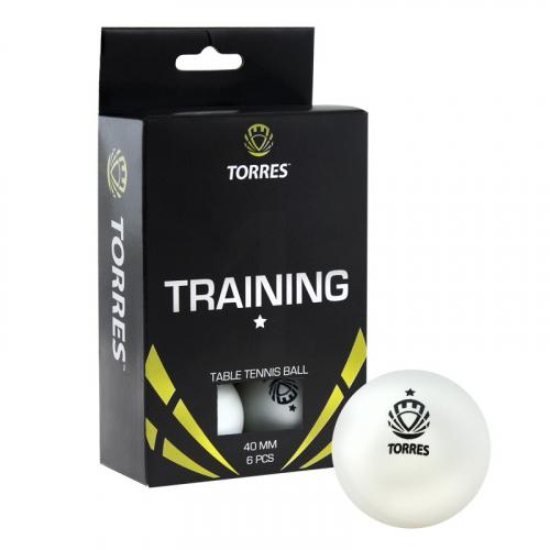 Мяч для наст. тенниса TORRES  Training 1*,  арт. TT0016, диам. 40+ мм, упак. 6 шт, белый  - вид 1
