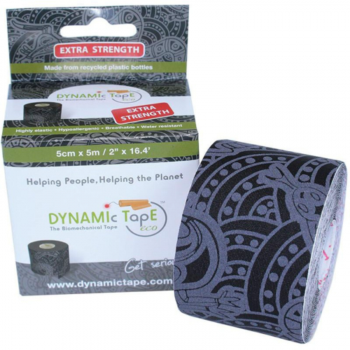 Тейп динамический Dynamic Tape ECO, арт. DT50TTEB, шир. 5 см, дл. 5 м, черный/серое тату  - вид 1