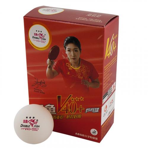 Мяч для наст. тенниса Double Fish 3***, World Cup диам. V40+мм, ITTF Appr,плаcтик,упак.6 шт,белый  - вид 1