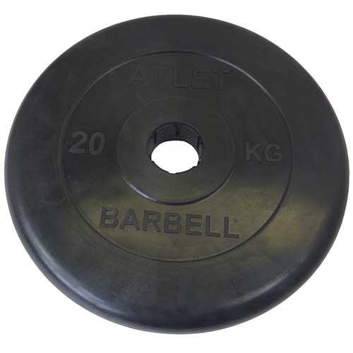 Диск обрезиненный черный MB ATLET d-51 20кг MB-AtletB50-20 - вид 1