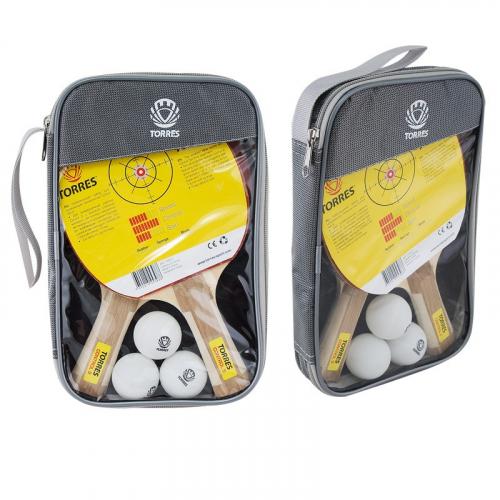 Набор для н/т TORRES Control 9, арт.TT0011, 2 ракетки и 3 мяча, наклад. 1,8 мм, конич. ручка  - вид 1