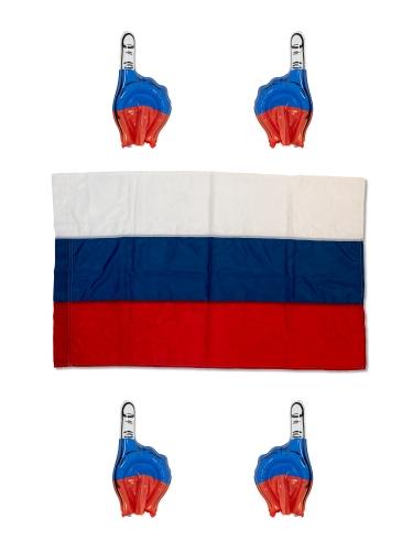 "Набор фаната ""Команда"" (флаг 90х135 и четыре надувные руки) FANSET-KOMM - вид 1"