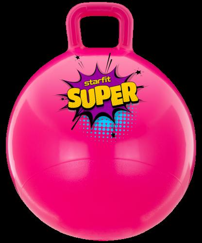 Мяч-попрыгун GB-0401, SUPER, 45 см, 500 гр, с ручкой, розовый, антивзрыв УТ-00016557 - вид 1