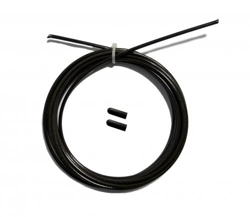 Трос с заглушками скоростной скакалки черный FT-JRCORD-BLACK - вид 1