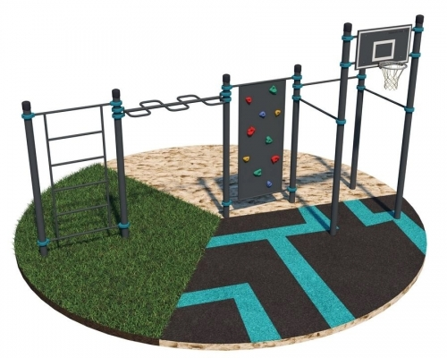 Комплекс со скалодромом и баскетбольным кольцом для взрослых и детей K-041 - вид 1