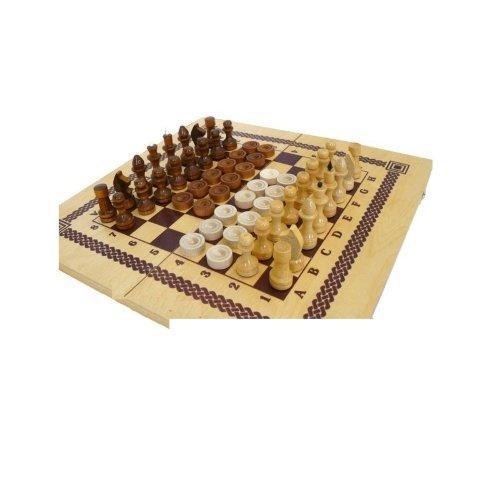 Игра 2 в 1 шашки, шахматы с деревянными фигурами 12067 - вид 1