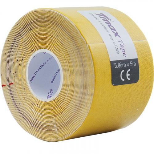 Тейп кинезиологический Tmax Extra Sticky Yellow (5 см x 5 м), арт. 423174, желтый  - вид 1