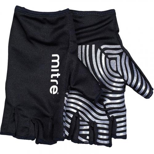 """Перчатки для регби """"MITRE Sticky Fingers"""" арт.T29008, р. M, лайкра, силикон, черно-серебристые  - вид 1"""