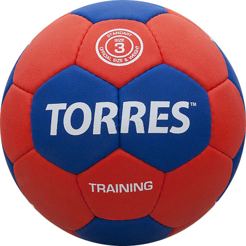 "Мяч ганд. ""TORRES Training"" арт.H30053, р.3, ПУ, 4 подкл. слоя, красно-синий  - вид 1"