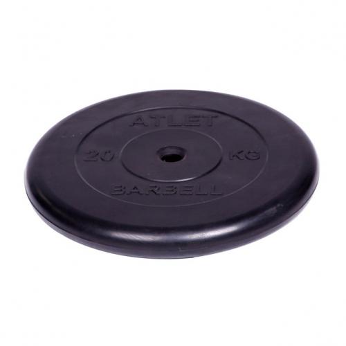 Диск обрезиненный Barbell Atlet d 26 мм чёрный 20 кг 2703 - вид 1