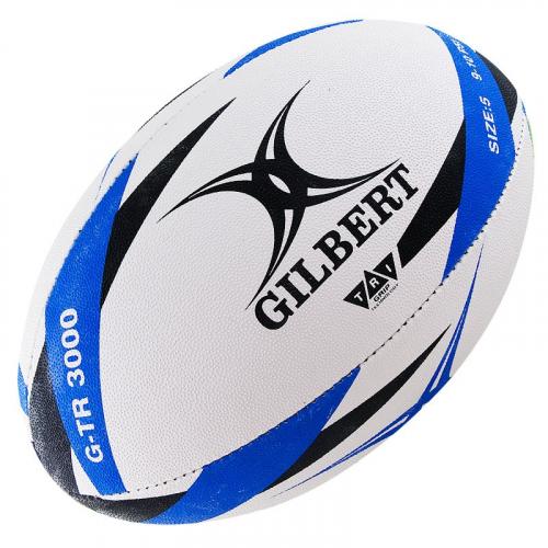 """Мяч для регби """"GILBERT G-TR3000"""" арт.42098205, р.5, резина, ручная сшивка, бело-черно-синий  - вид 1"""