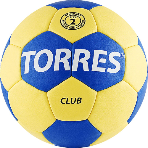 """Мяч ганд. """"TORRES Club"""" арт.H30042, р.2, ПУ, 5 подкл. слоев, сине-желтый  - вид 1"""