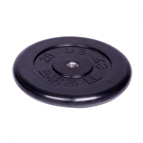 Диск обрезиненный Barbell d 26 мм чёрный 20 кг 413 - вид 1