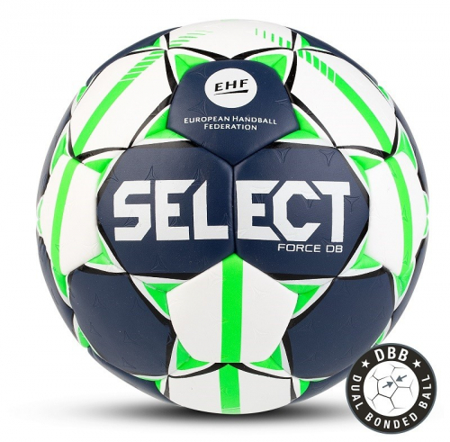 "Мяч ганд. ""SELECT FORCE DB"" арт. 844920-002, Lille (р.1), EHF Appr,ПУ, гибр.сш.,бело-салат-черн  - вид 1"