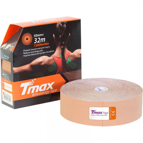 Тейп кинезиологический Tmax 32m Extra Sticky Biege (5 см x 32 м), арт. 423211, телесный  - вид 1