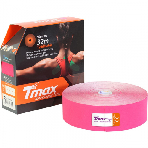 Тейп кинезиологический Tmax 32m Extra Sticky Pink (5 см x 32 м), арт. 423235, розовый  - вид 1