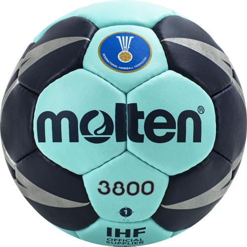 "Мяч ганд. ""MOLTEN 3800"", арт. H1X3800-CN, р.1, мат.ПУ,32 пан, руч.сш, бирюзово-т.синий  - вид 1"