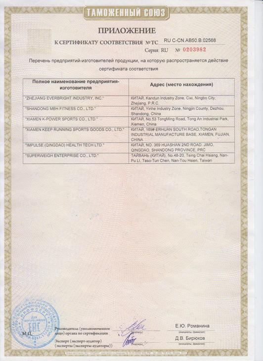 Приложение к сертификату 1